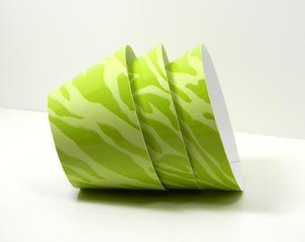 Animal Print Cupcake Wrappers - Set of 12 - Zebra Print Cupcake Wrapper - Zebra Stripe Green Cupcake Wrapper