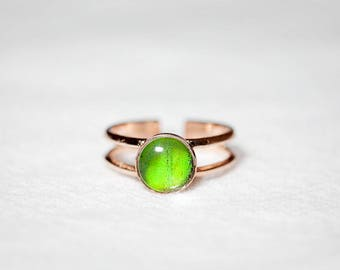 Real Butterfly Wing Ring - Butterfly Jewelry - Real Butterfly Ring - Rose Gold Ring - Green Ring - Gold Ring - Gift for Her - Promise Ring