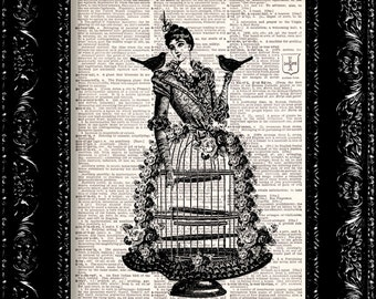 BOGO - Birdcage Lady - Vintage Dictionary Print Vintage Book Print Page Art Upcycled Vintage Book Art
