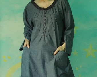 Just The Way You Are...Dusty Dark Charcoal Tunic With 4 Roomy Pockets