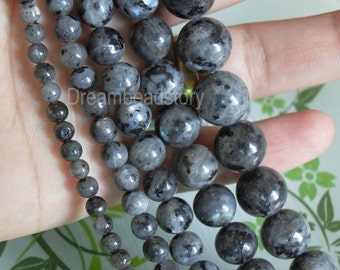 Natural Chinese Labradorite Gemstone Beads, Round 4 6 8 10 12mm Gray Stone Beads in Bulk Wholesale (WM9)