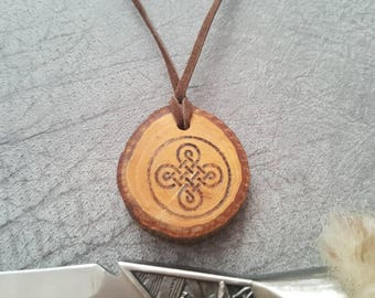Celtic knot pendant tribal pagan fantasy nordic pyrography pecan raw wood