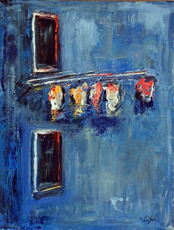 Abstract Art ORIGINAL Oil Painting Laundry in Window Art Deco Blue 24x18 by BenWill