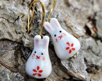Sweet Bunny Rabbit Gold earrings - painted ceramic bunny beads with red flowers on gold earwires - great gift -Free Shipping USA