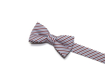 Boys Bow Tie~Easter Bow Tie~Summer Bow Tie~Boys Plaid Bow Tie~Ring Bearer Tie~Wedding Bow Tie~Boys Gift~HoBo Ties~Red White Blue Stripe Tie