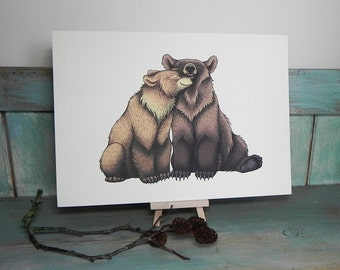 Bear Couple Illustration - A3 Print on 175gsm Card available in 2 Colours