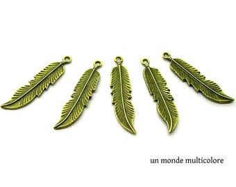 Charm, feather pendant 46 x 11 mm bronze metal