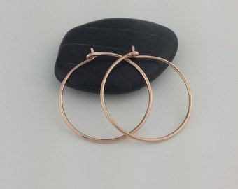 Thick 14k Rose Gold Hoop Earrings, 18 Gauge, Solid 14k Rose Gold Hoop Earrings, Solid Gold Hoops, Gold Hoops, Solid Gold Earrings, 14k Hoops
