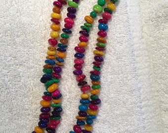 Dyed Mother of Pearl Happy Necklace