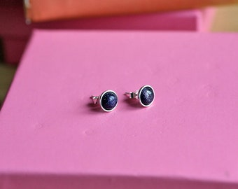 925 Sterling silver stud earrings with natural Blue Goldstone Gemstone Cabochon