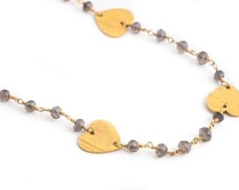 Gold Heart Smokey Quartz Necklace-layering necklace, heart necklace, gold necklace, boho, statement