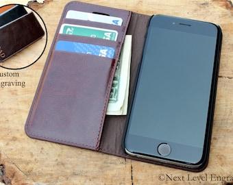 Dark Brown iphone 7 Plus Wallet Case, Brown Iphone 7 Wallet Case, Leather iphone 7 case, Leather iphone 7 plus case card holder