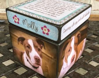 Pet Urn , dog urn, Personalized Dog Urn, Keepsake Box, Size Small