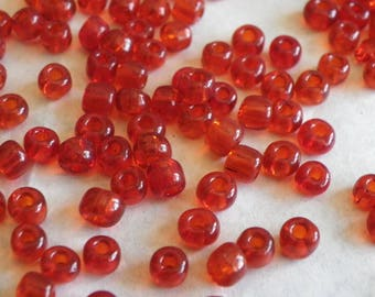 200 large 4 mm transparent red glass seed beads