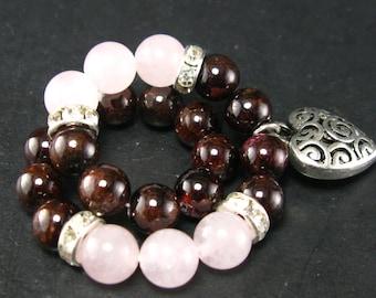 Garnet and Rose Quartz Bracelet - 8mm