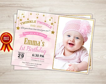 Pink and Gold Twinkle Twinkle Little Star First Birthday Invitation. Girl 1st Birthday Invitation. Gold Glitter. First Birthday Party Invite
