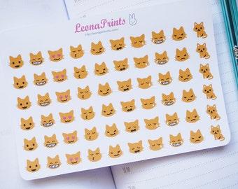 Cat Emoji Planner Stickers | Stationery for Erin Condren, Filofax, Kikki K and scrapbooking