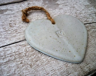 Loveheart Hanger, gift idea, pottery, one off hand made pottery.