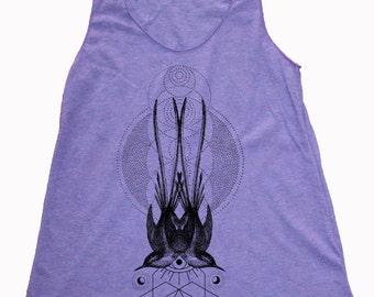 Women's Symmetrical Sparrows Tank Dotwork Sacred Geometry Symmetry Shirt