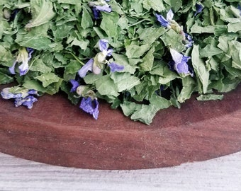 Organic Violet Tea, Organic Loose Leaf Tea Blend, Organic Herbal Tea, Natural Tea, Organic Dried Herbs, Dried Violet Leaf and Flowers