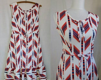 Vintage 1960's Red, White & Blue Geometric Print Sundress. Feminine Late 60's A-line spring/summer dress w/ ruffled hem, S