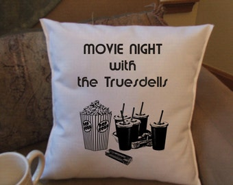 personalized movie night throw pillow cover,home  theater throw pillow cover
