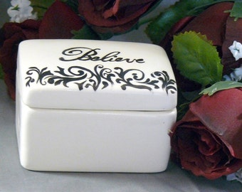 Ceramic Believe Keepsake Box