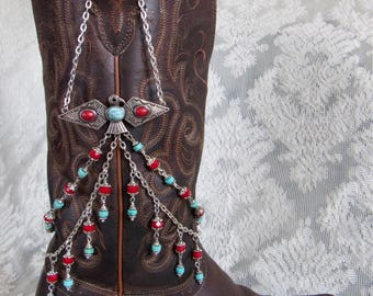 "Turquoise Thunder Bird Boot Jewelry ""Bootlery"" Boot Bracelet"