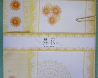 New!! Yellow Flower Stationery Letter Paper & Envelope Printed In Japan Washi