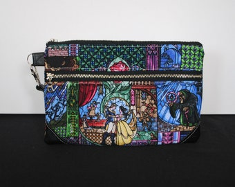 Beauty and the Beast Double Zip Pouch Wristlet Clutch