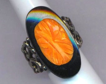 Antique Silver Plated Filligree Ring . Onyx and Coral . German Glas . Cocktail Ring . Statement Ring- Stone of Love by enchantedbeas on Etsy