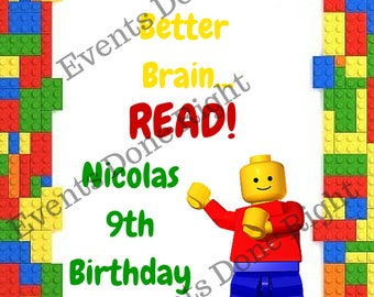 Building Block Lego Inspired Bookmarks Set of 12 Building Blocks Birthday favors party decorations Reading Books