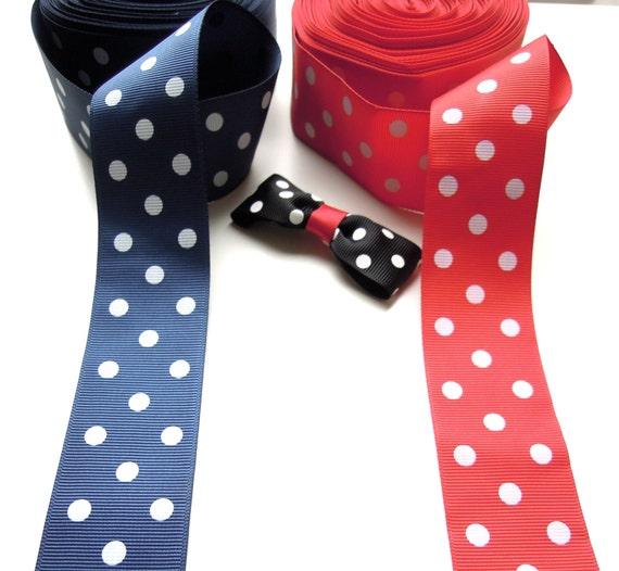 "2 yds Blue polka dot ribbon 38mm 1 1/2"" - Wide ribbon - Rockabilly retro style ribbon for perfect bows - Red polka dot ribbon - 1950s style"