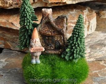 Gnomes Cabin in the Woods for Miniature Garden, Fairy Garden
