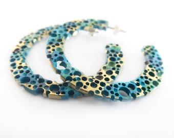 Turquoise earrings. Bronze hoops. Earrings Hoop. Turquoise earrings. Spring earrings. Summer earrings. Handmade.