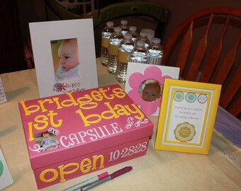 Personalized Custom First Birthday Time Capsule Box