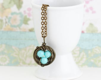 Family Jewelry - Meaningful Necklace - Bird Nest Necklace - Turquoise Eggs - Gift For Mom - Woodland Necklace - New Baby Gift - Push Present