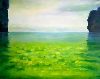 Oil painting Landscape painting Seascape Original Green painting Thailand