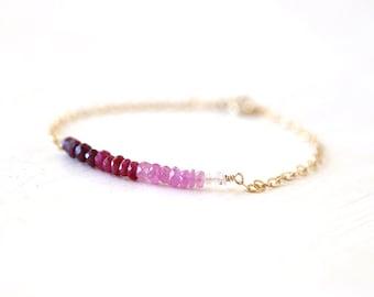 Ombre Shaded Ruby Gemstone Bar Bracelet // 14K Gold Filled // Sterling Silver // simple everyday modern layering bracelet