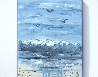 Small ocean painting with seagulls, beach painting 8x10 vertical with gray and blue tones