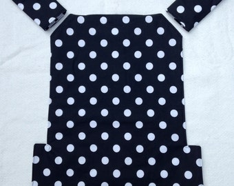 Jazz and Go baby carrier cover and strap pads for Ergo and Lillebaby for baby wearing in black and white polka dot cotton fabric