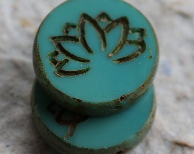 TURQUOISE LOTUS .. New 2 Premium Picasso Czech Glass Lotus Coin Beads 18mm (6339-2)