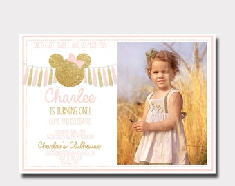 Minnie Mouse Birthday Invitation | Pink and Gold Minnie Mouse Invitation