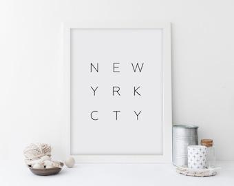 New York City Art Print, Modern Minimalist Wall Art, Home Decor, New Yrk Cty, Black And White, City Name Wall Art, Home Decor, Printable