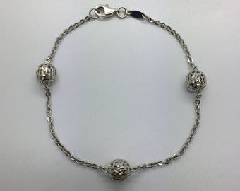 18ct White Gold Fancy Bracelet 7 Inches