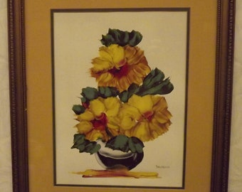 Beautiful Still Life Watercolor Painting signed Dallaglio