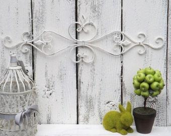 Cream Wrought Iron  Wall Decor / Wrought Iron  / Ornate Wall Decor / Shabby Chic Decor / Bedroom Wall Decor / Kitchen Decor