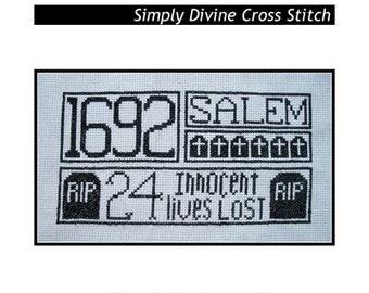 PDF E pattern emailed Primitive Halloween Witch Cross Stitch Pattern 117
