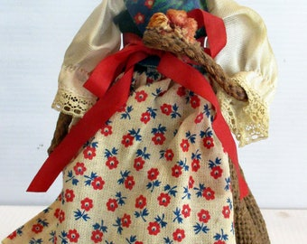 Vintage Doll Figure Polish Woman Costume-Antique old childrens toy - Folkloric doll collectible,  unique gift under 20