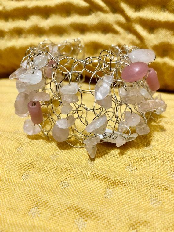 SJC10304 - Handmade sterling silver wire crochet cuff bracelet with pink glass beads and quartz gemstones